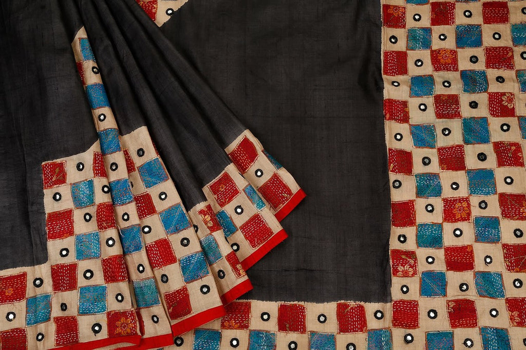 Bengal Tussar Black Saree With Multicolor Square And Mirror Work Border