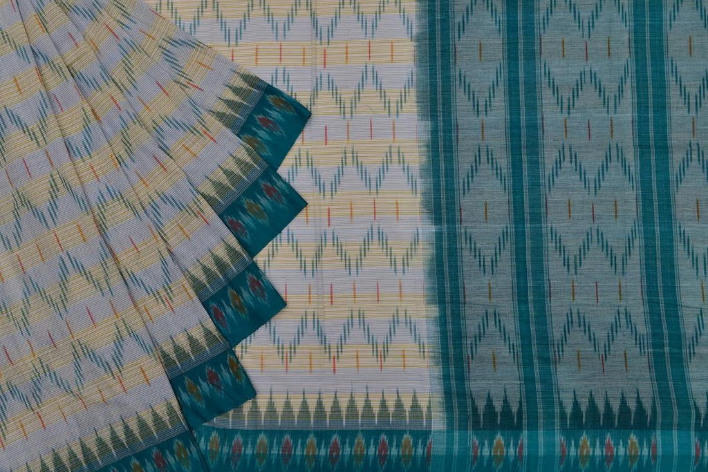 beige and blue light weight Ikat cotton Saree with zig zag pattern