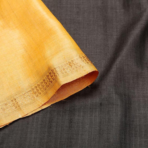 Sambalpuri Tussar Silk  Black Saree With orange temple border