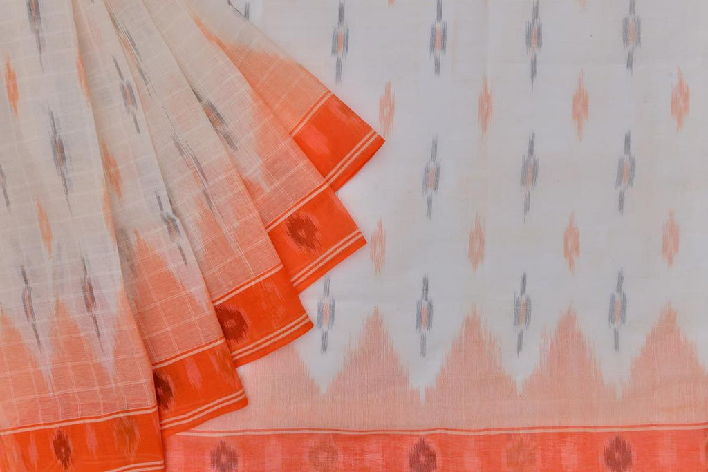 white Andhra cotton Saree with orange and black butti