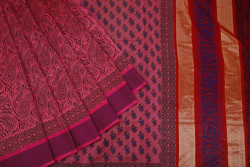 Maheshwari Cotton Silk Saree In Purple