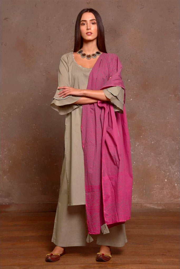 Grey And Mauve Cotton Kurta Pant And Dupatta Set With Hand Block Work