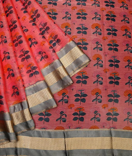 chanderi pastel pink cotton Saree with printed floral design