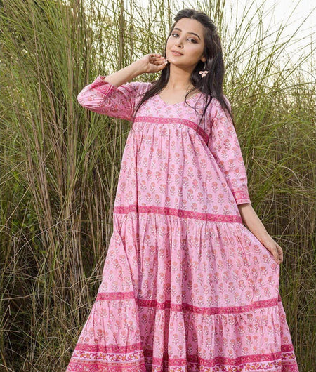 Hand Block Pink Flared Cotton Maxi Dress