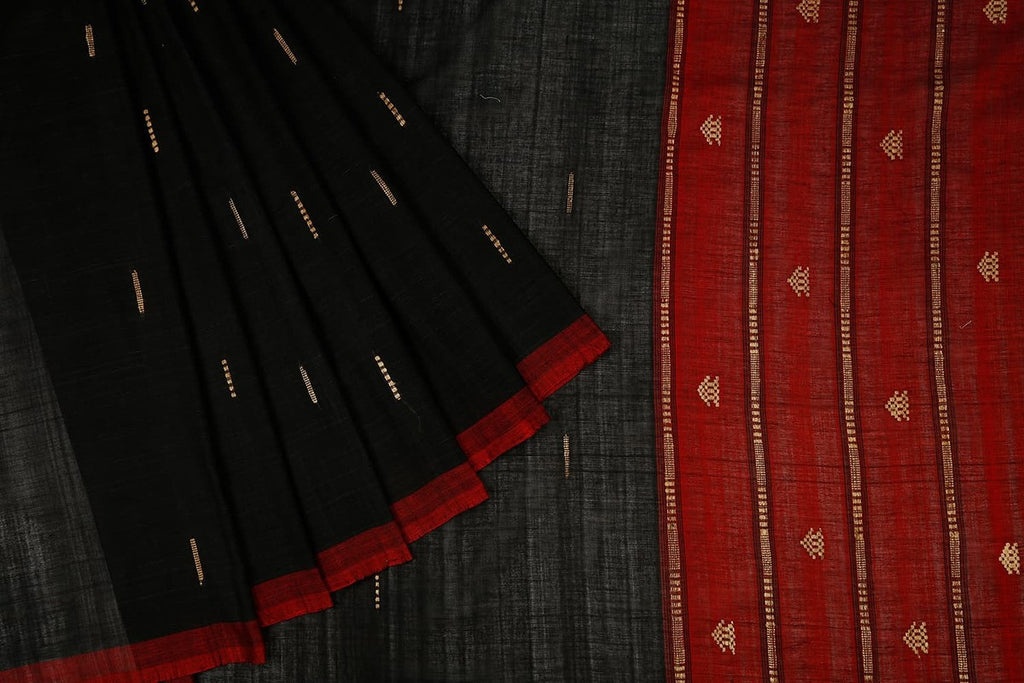 Assam Cotton Saree In Black With Contrast Maroon Pallu