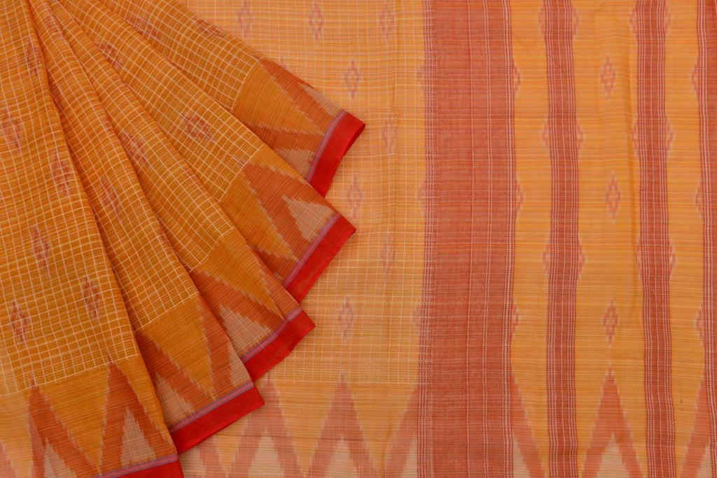 orange Andhra cotton Saree with red floral butti with checks