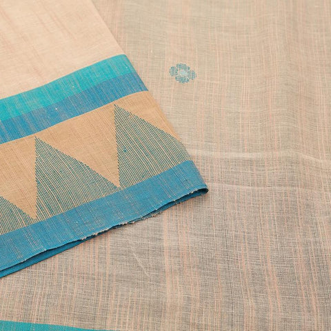 bengal handloom cotton off white Saree with plain beige border with pyramid design