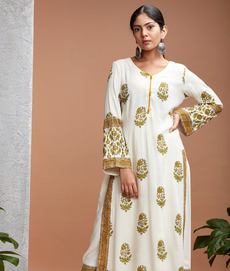 Hand Block White Rayon Kurta Set