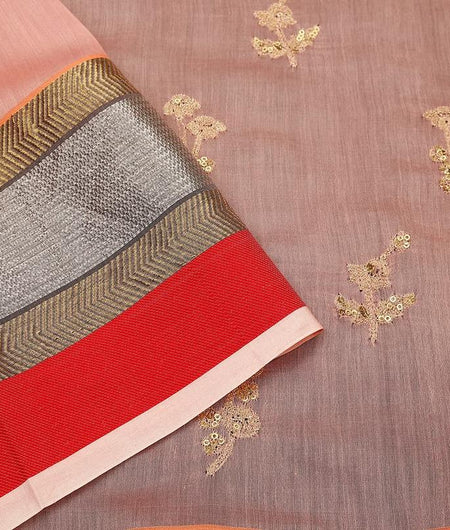 maheshwari peach Silk Saree with embroidered multiple zari border