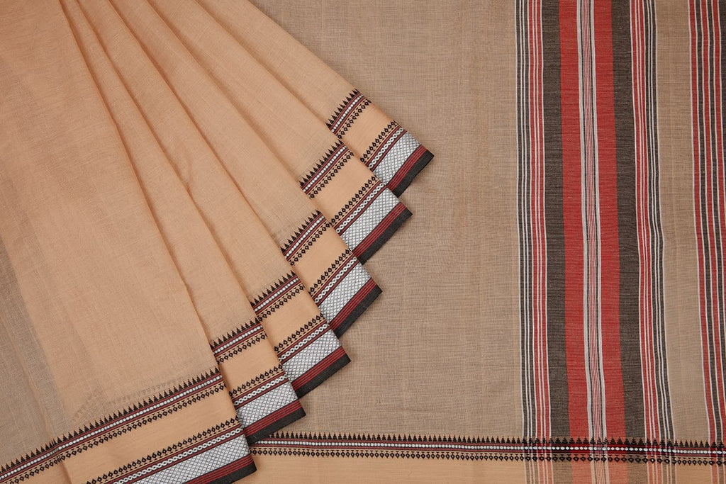 Begampur Cotton Beige Saree With Naksha Border