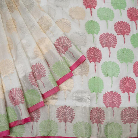 chanderi silk white Handloom Saree