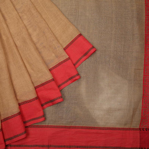 bengal cotton handwoven beige and red plain Saree