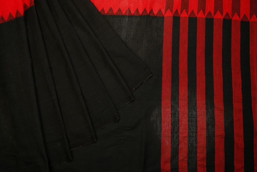 Bengal Cotton Black And Red Saree With No Border