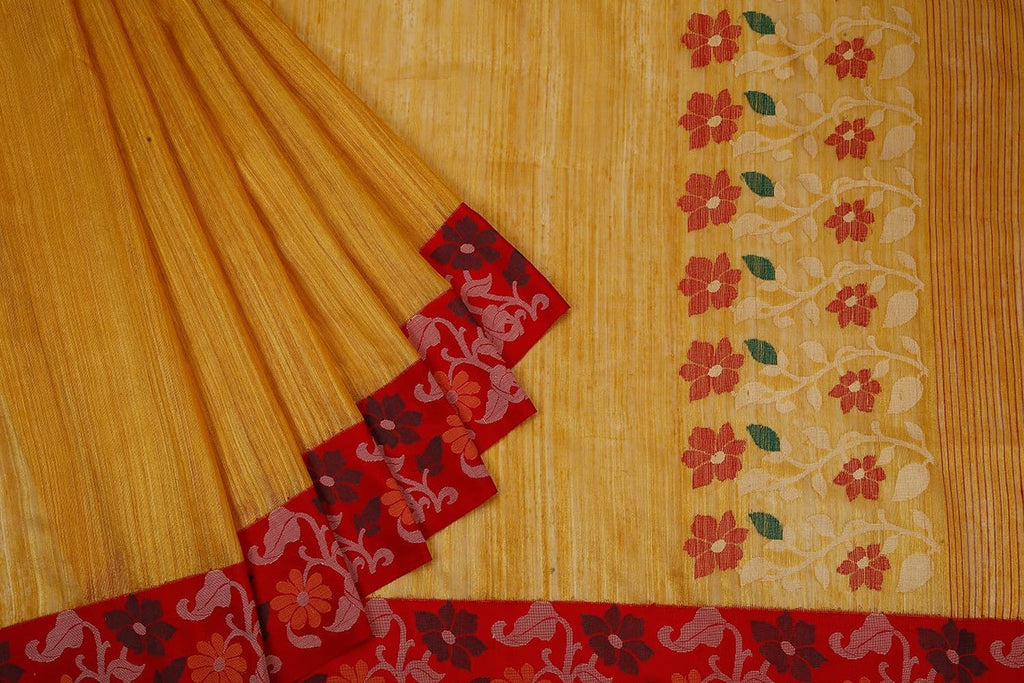 Bengal Matka Yellow Saree With Floral Design On Red Border