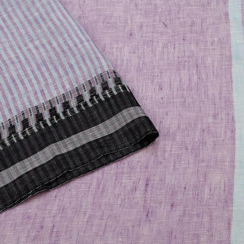 Purple Handloom Tussar Silk Handwoven Saree With  Border
