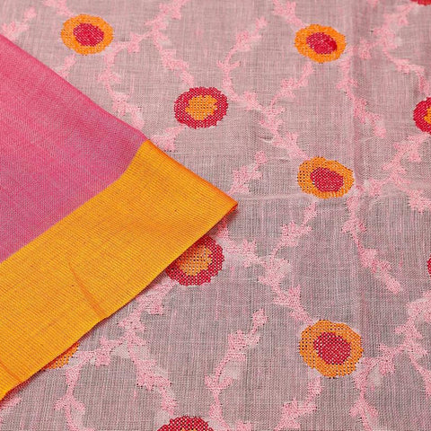 handloom pastel pink linen Saree with embroidery thread work of flowers