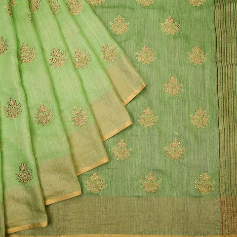 handloom lime green Silk Saree with embroidery sequins work