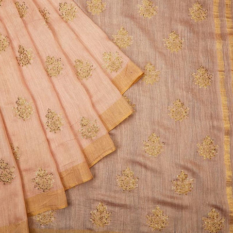 handloom papaya whip Silk Saree with embroidery sequins work