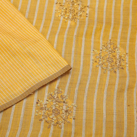 handloom dandelion yellow Silk Saree with embroidery sequins work
