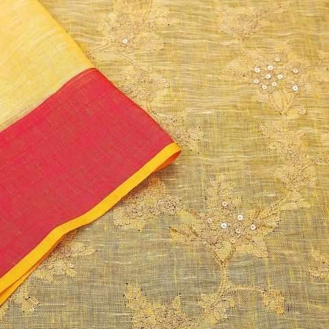 handloom yellow linen Saree with embroidery thread work of flowers
