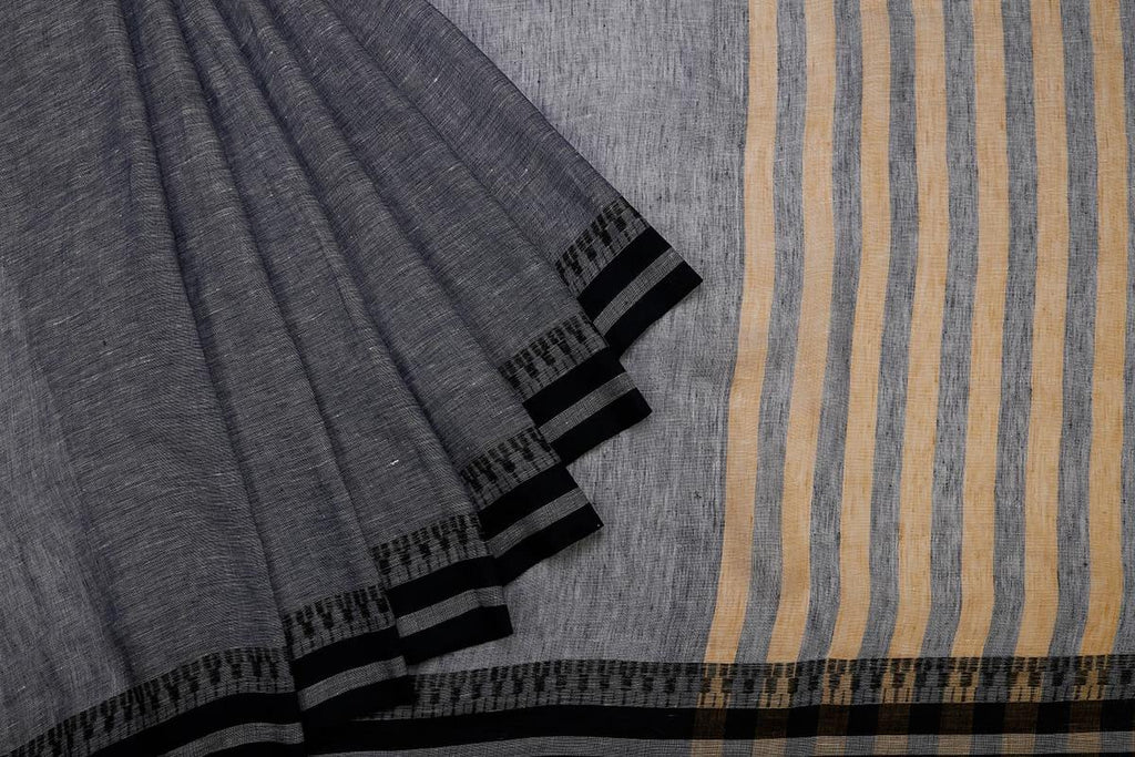 Grey Handloom Tussar Silk Handpainted Saree With  Border