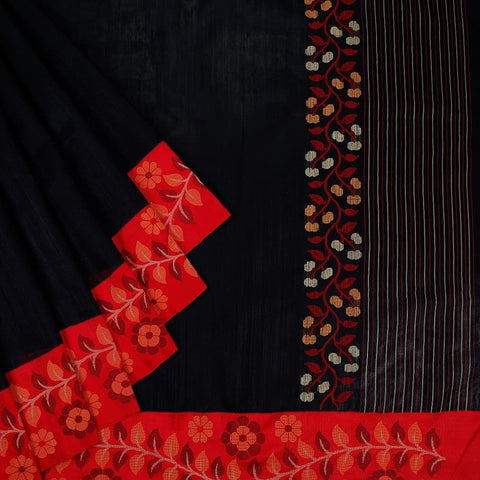 Bengal Matka Black Saree with floral design on red border