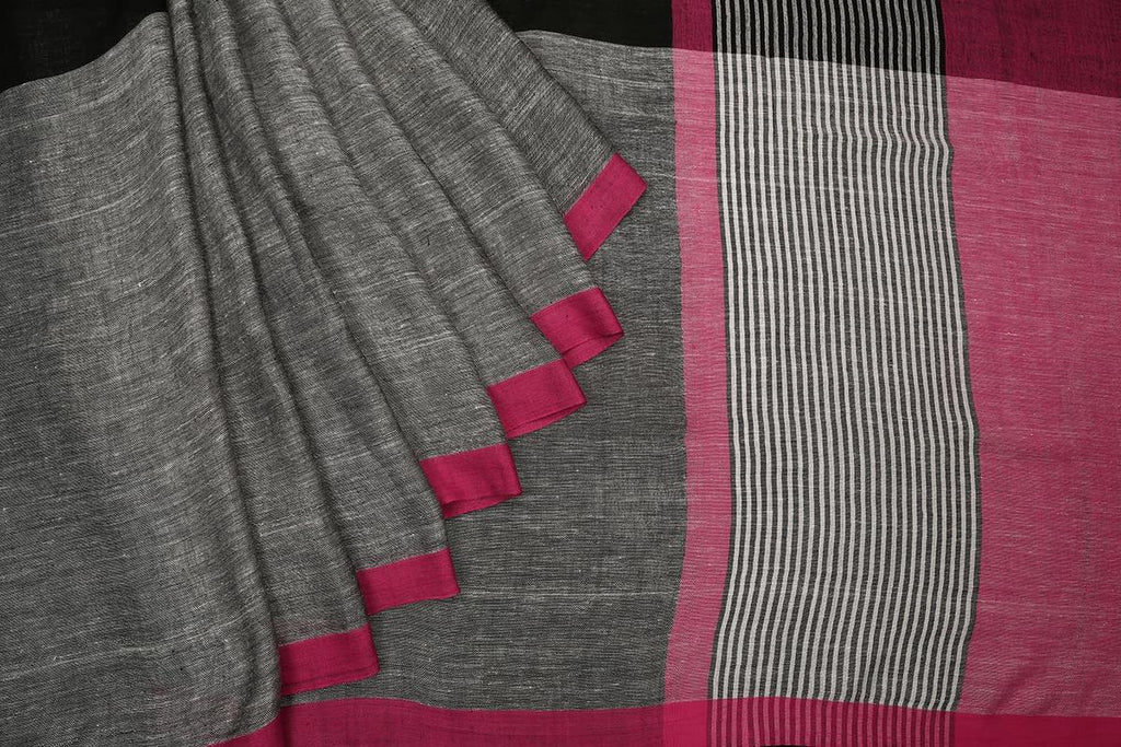 bengal linen handwoven black grey and pink plain Saree