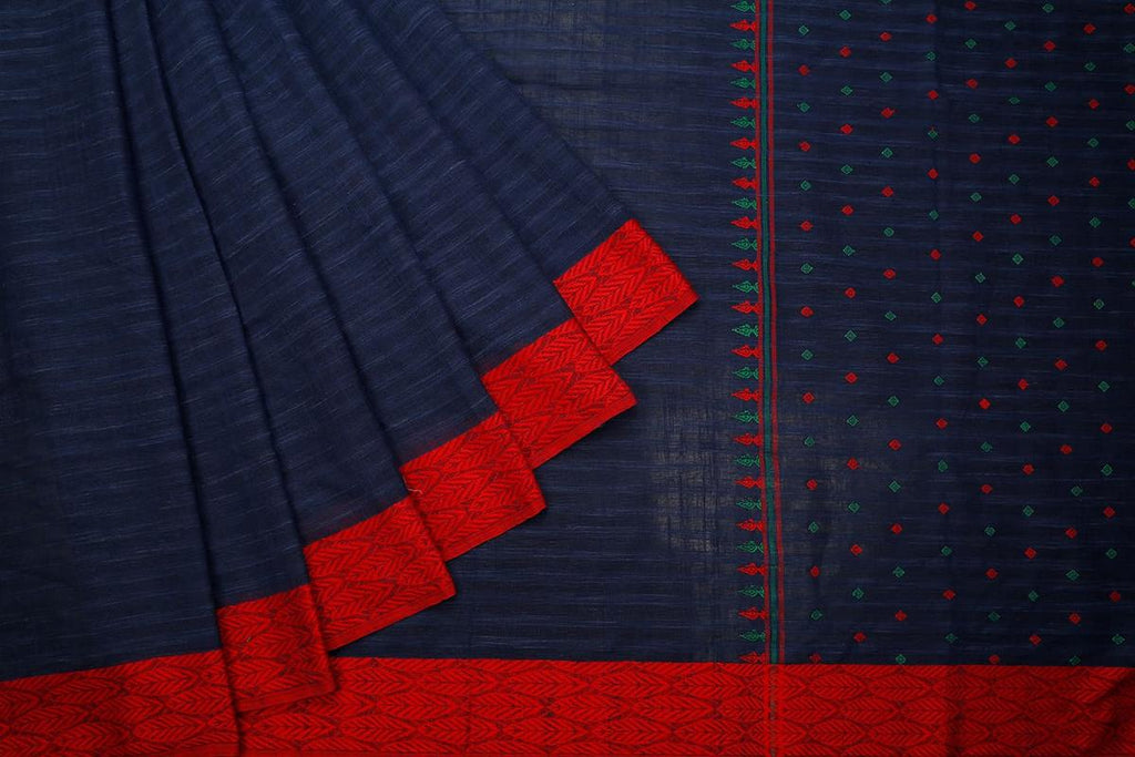 bengal handloom cotton blue Saree with plain red and green ganga jamuna border