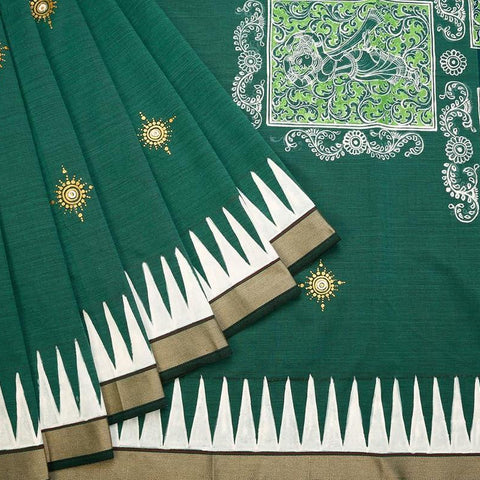 Orissa Cotton Green Saree With plain weaving border