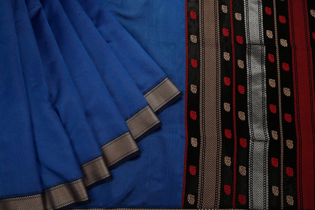 Maheshwari Cotton Silk Blue And Black Saree With Broad V Zari Border