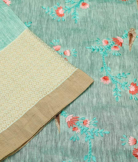 handloom light green linen Saree with embroidered thread work of birds & flowers
