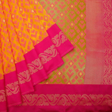 Deep Yellow And Pink Organza Silk Parsi Work Saree