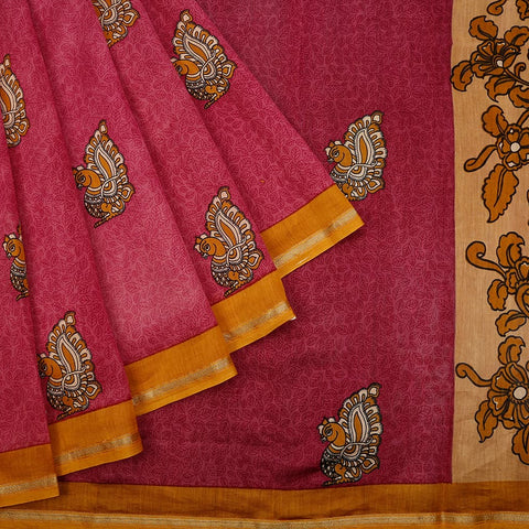 Chanderi Silk Pink Saree With Annapakshi Pattern