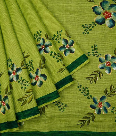 Parrot Green Handloom Silk Handwoven Saree With  Border