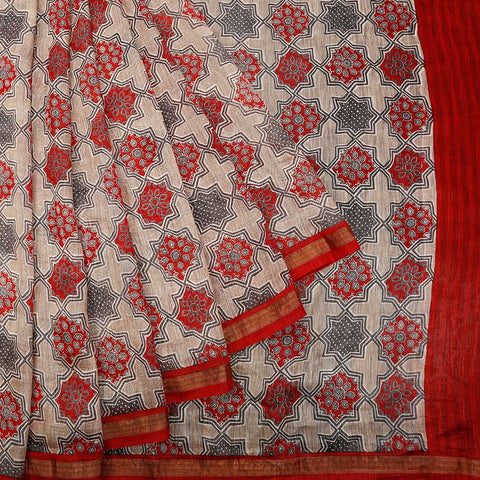 Chanderi Silk Off White Saree With Multiple Design Jaal Pattern Pattern