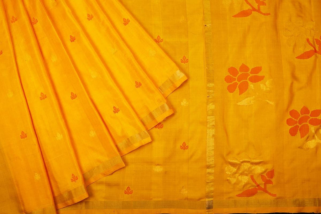 Yellow Handloom Tussar Silk Handwoven Saree With  Border