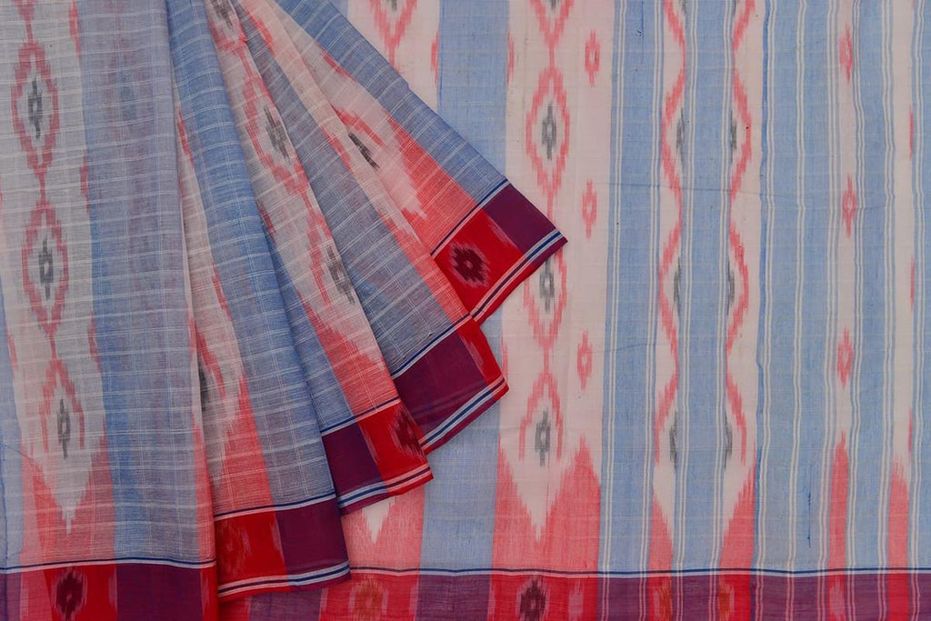 blue and red light weight Ikat cotton Saree with blue and white wavy stripes