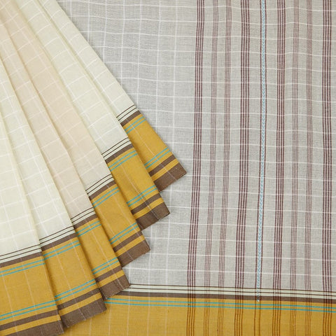 Begampur Cotton White Saree With Running Pattern Bodern In Yellow And Brown Border