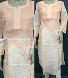 Embroidery Peach Cotton Kurta