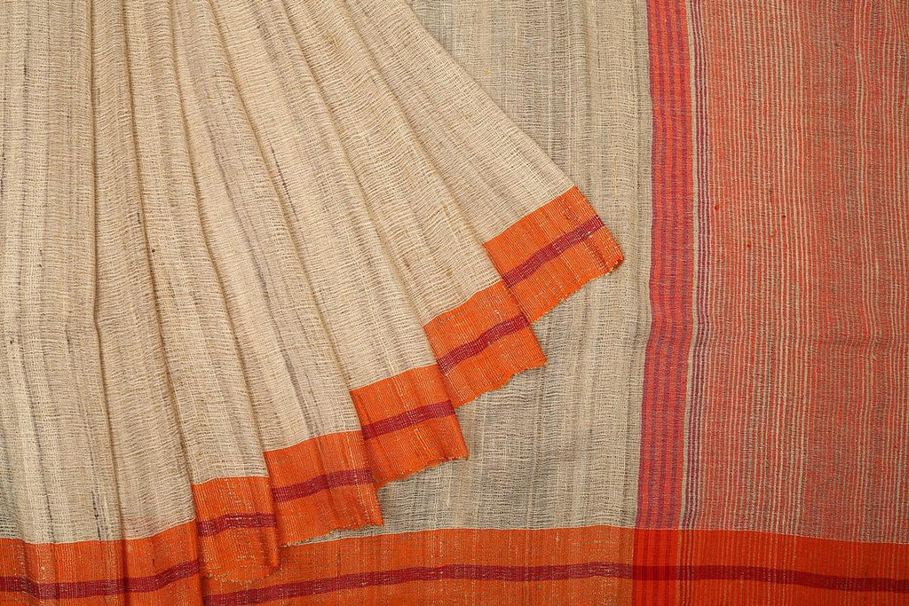 bengal ketia cotton handwoven chandan and orange plain Saree
