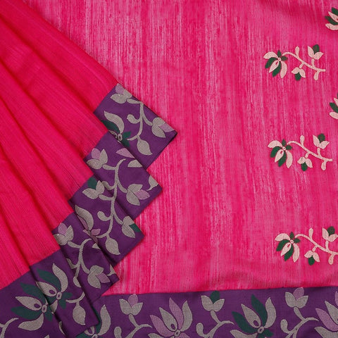 Bengal Matka pink Saree with floral design on purple border