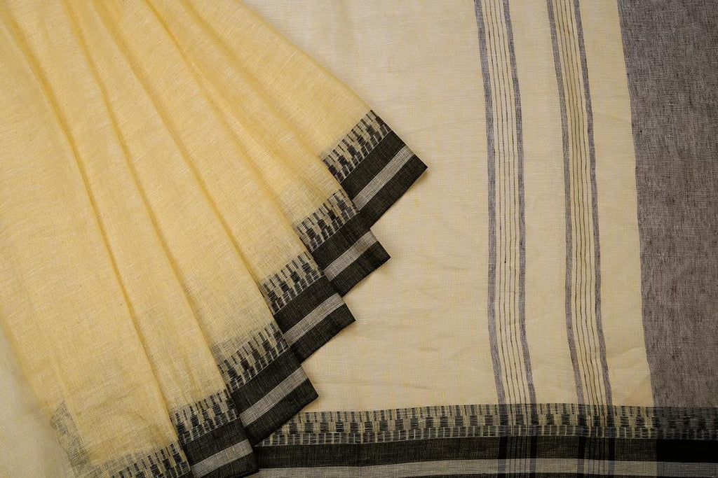 Lemon Yellow Handloom Tussar Silk Handwoven Saree With  Border