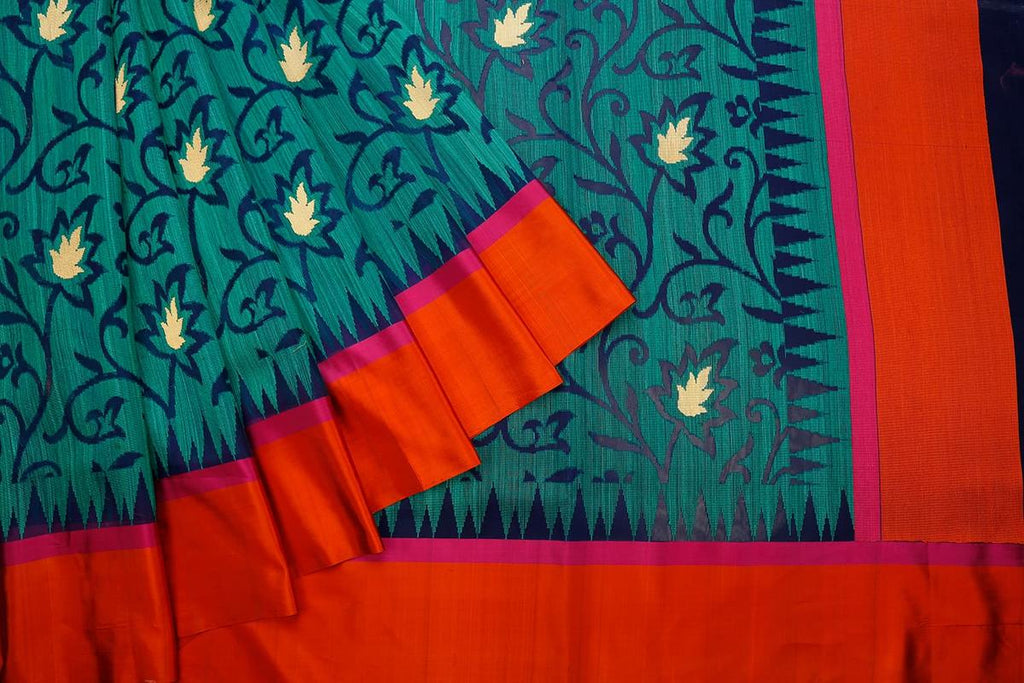 Bottle Green  Organza Silk Parsi Work Saree