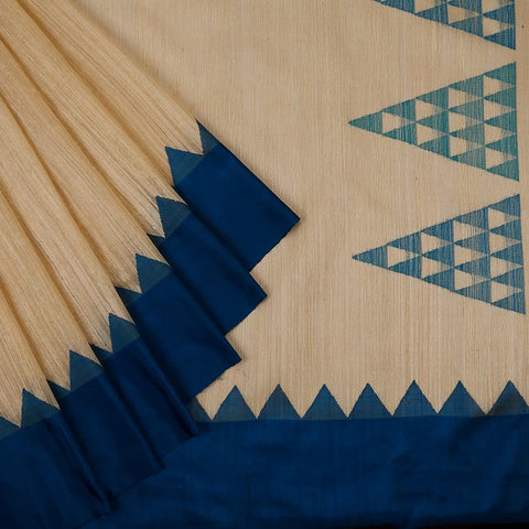 Bengal Matka cream Saree with plain blue border