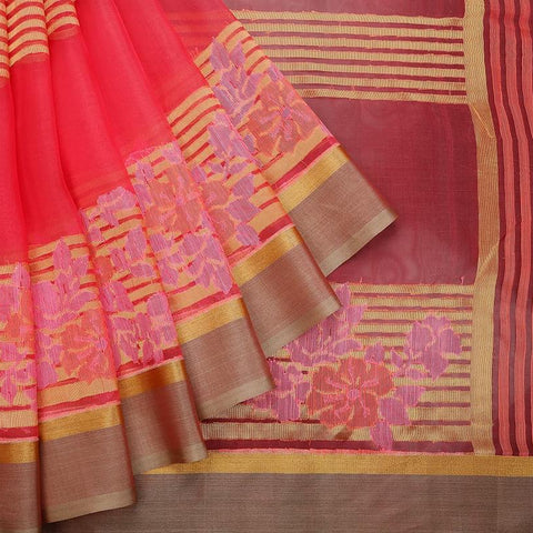 Dark Coral Pink Organza Silk Parsi Work Saree
