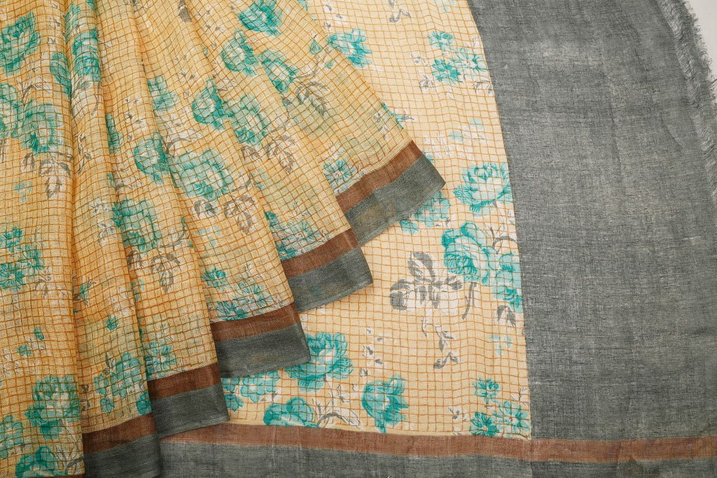 Linen Silk Beige Saree With Floral Pattern