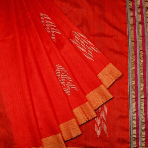 Bhagalpur katan dupion silk red  Saree
