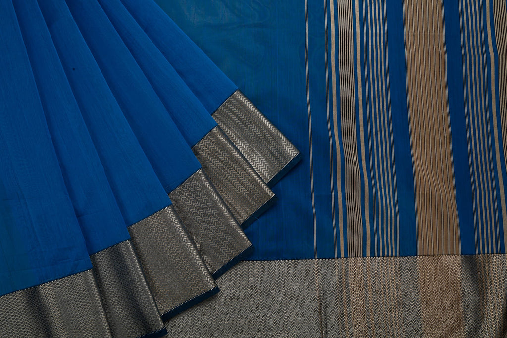 Maheshwari Cotton Silk Blue Saree With Broad Lehar Border