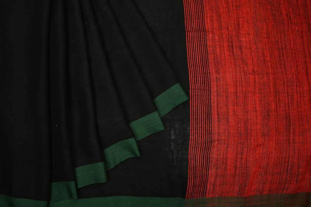 bengal linen handwoven black,rust andgreen plain Saree