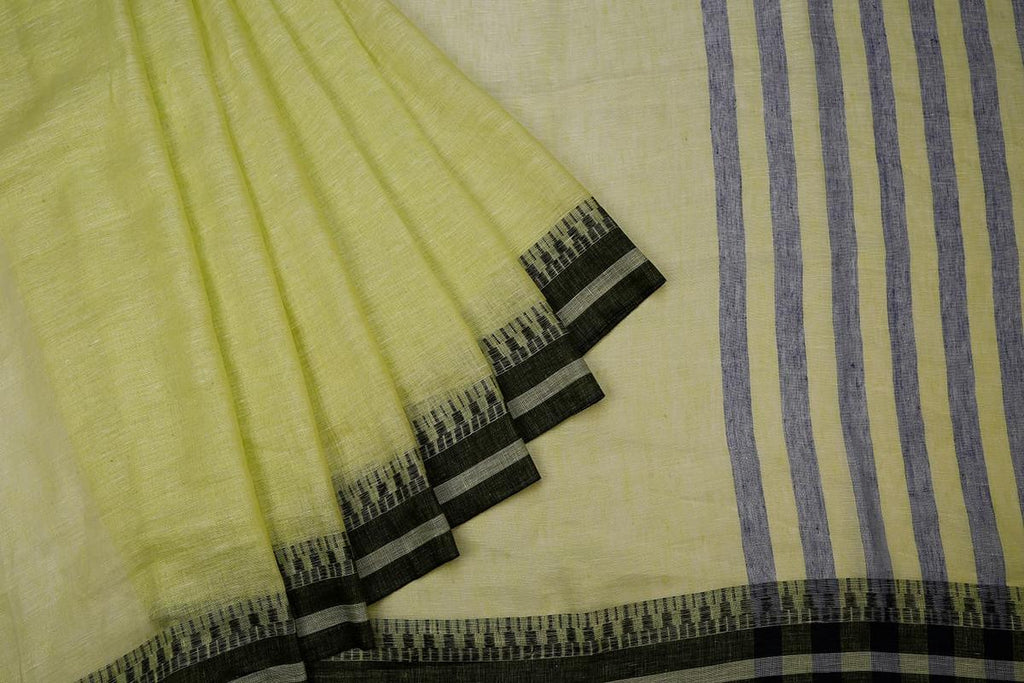 Light Green Handloom Tussar Silk Handwoven Saree With  Border